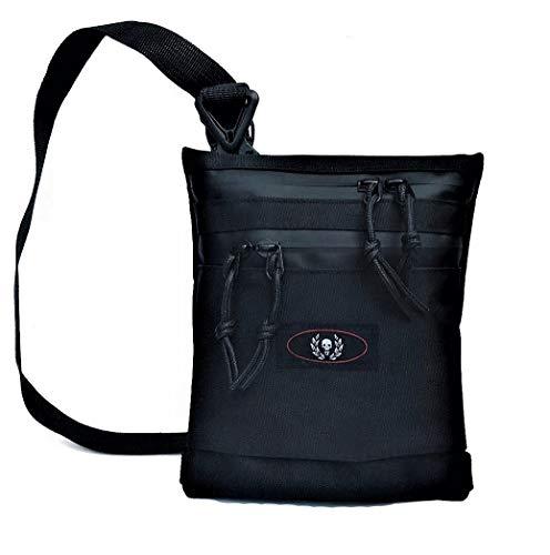 XL Brustbeutel, Herren Umhängetasche, Flacher Brustbeutel, klein Schultertasche mit Kordel Reißverschlüssen, wasserabweisend, Waterproof Shoulder Bag, Maße: 20 x 17 x 1 cm (Schwarz)