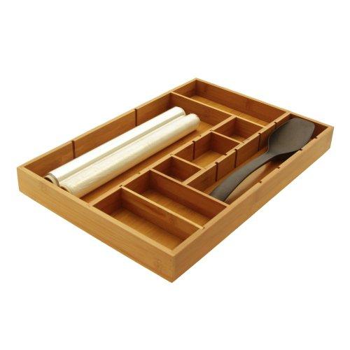 Woodquail - Vassoio organizer per cassetti da cucina, regolabile, perfetto per le posate, in naturale legno di bambù ecologico