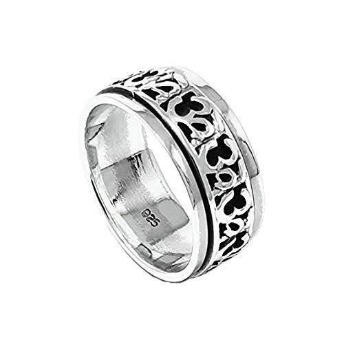 TreasureBay Spinning Aum Ohm Om Design 925 Sterling Silver Ring for Men or Women (P)