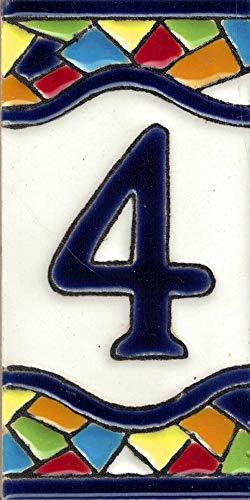 TORO DEL ORO Números casa. Numeros y Letras en azulejo. Ceramica esmaltada, Pintados a Mano técnica Cuerda Seca. Nombres y direcciones. Diseño Mosaico Mediana 5,5x10,5 cm (Número cuatro'4')
