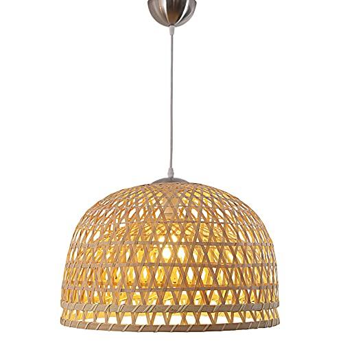 NAMFMSQ Lámpara Colgante de bambú Chino con semicírculo de una Sola Cabeza, lámpara Tejida a Mano, lámpara Colgante de bambú, lámpara Colgante China, Accesorio de iluminación de Mimbre y ratán