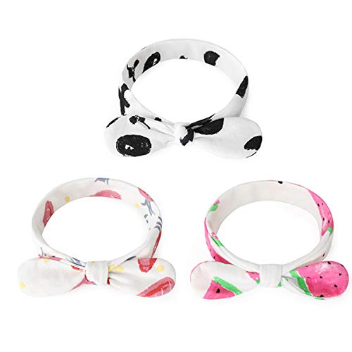 iFCOW Baby Hoofdband, 3 stks Baby Strik Hoofdband Pasgeboren Peuter Haarband Headdress, M, Wortel + Zwarte Panda + Watermeloen