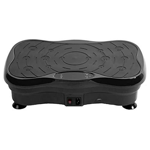 Auvem Body Vibration Machine Tablet Platform Massager Music Fitness Slim Exercise Machine with Ring Belt Vibration Fitness Platform Lose Weight and Shape Home Training Equipment (Black)