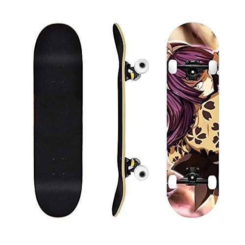Fairy TailSkateboard Naz Grey Elisa , Cruiser Tablero Completo Siete Capas de Arce, cojinetes ABEC-7, Adecuado para Adolescentes, Adultos, Trucos para Principiantes monopatín-Fairy Tail2
