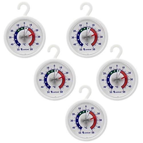 Lantelme Conjunto termómetro 5 pcs. Nevera - congelador - termómetro redondo con gancho para colgar, analógica y bimetálicas. Termómetro digital para nevera juego de fabricación alemana 4951