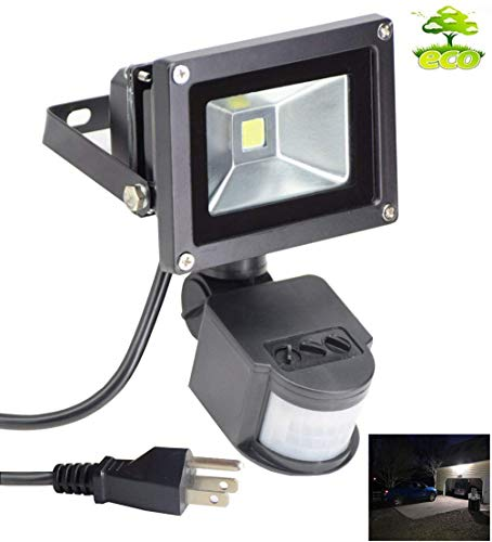 Led Motion Sensor Flood Light Outdoor 10W 800LM Pir Sensitive Security Lights Wall Fixture Lamps...