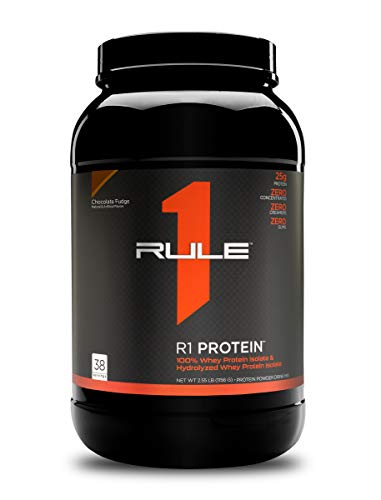 Rule One Proteins, R1 Protein - Chocolate Fudge, 25g Fast-Acting, Super-Pure 100% Isolate and Hydrolysate Protein Powder with 6g BCAAs for Muscle Growth and Recovery, 2.5 Pounds, 38 Servings