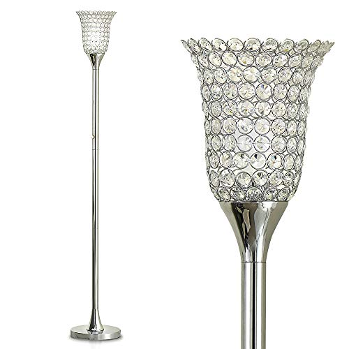 """HOMEGLAM 72"""" Belle Crystal Shade Torchiere Floor Lamp, Crystal Floor lamp, Modern Floor Lamp (Polished Chrome)"""