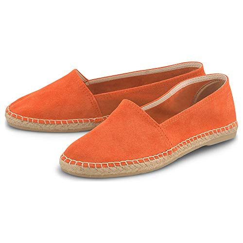 Cox Damen Trend-Espadrille Orange Rauleder 40