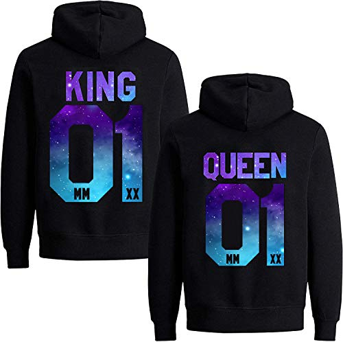Couples Shop King Queen Hoodie Pullover Set für Paare (Damen Queen, Stars-Schwarz M)