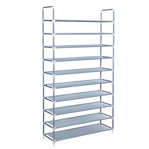 SONGMICS 10 Tiers Shoe Rack 50 Pairs Non-woven Fabric Shoe Tower Storage Organizer Cabinet 39.4 x...