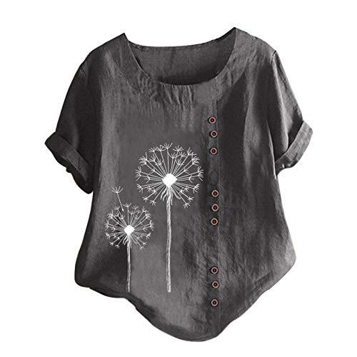 Tuniken Leinen Mädchen Top Hemd Bluse Schmetterling Druck Shirt Schmetterling Druck T-Shirt Schwangerschafts Tshirt Leinen T Shirt Grau #32 M