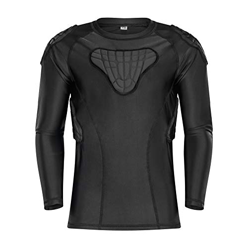 TUOY Youth Boys Padded Compression Shirts Shorts Rib Chest Protector Protective Sports Workout Safety T-Shirts for Football Paintball Baseball (YL(Chest:28.5-30.5