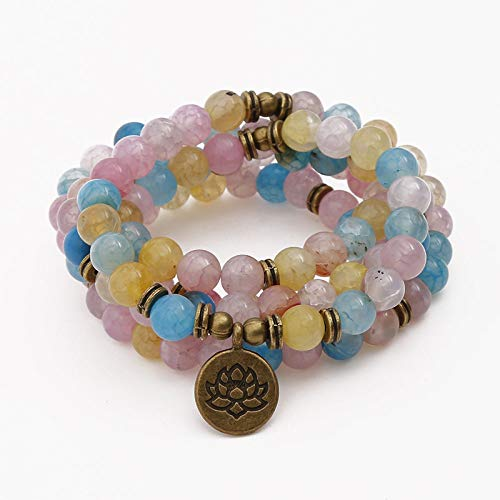 Natuurlijke stenen armband, kralen armband 108 mode yoga energie kralen armband 8 mm kleur gebarsten agaat steen trui ketting Lotus hanger stretch kraal armband sieraden gepersonaliseerde kleding accessoires