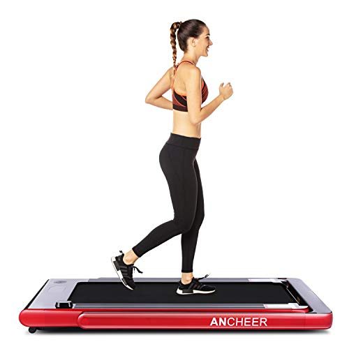 ANCHEER 2 in1 Folding Treadmill, Smart 2.25 HP Under Desk Treadmill, Electric Walking Running Machine with Bluetooth Audio Speakers, Upgraded Smart Top Folding Treadmill (Red)