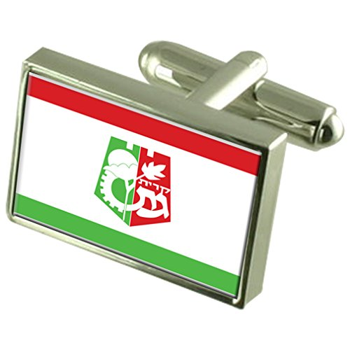 Select Gifts Kiryat Gat Stadt Israel Flagge Sterling Silber Manschettenknöpfe graviert Box