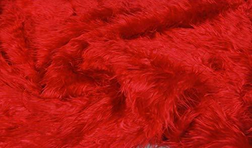 FABRICS-CITY RED MONGOLIAN SHAGGY FAKE FUR FABRIC MATERIAL, 4237