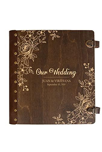 Wedding Photo Album Personalized Photo Album Self-Adhesive Album Rustic Wedding Gift for Couple Wooden Photo Album Custom Unique Photo Book Magnetic Page Photo Album Custom Memory Book Scrapbook Album