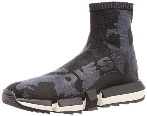 Diesel Herren H-PADOLA HIGH Sock-Sneaker mid Turnschuh, Military/Schwarz, 45 EU