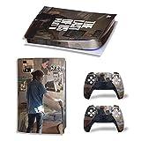 ZXJ - Cover in vinile per PS5, materiale in carbonio per PS5 Digital Edition Viny Decal Console + 2 controller Skin Sticker per Sony Playstation 5 accessori da gioco, grigio