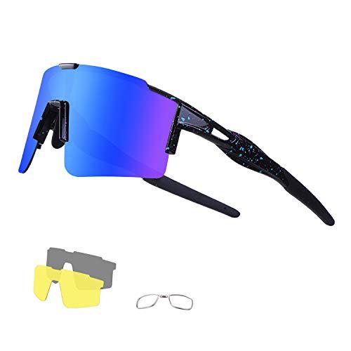 DUDUKING Occhiali Ciclismo Polarizzati con 3 Lenti Intercambiabili Occhiali Bici Antivento e Antiappannamento Occhiali Sportivi da Sole Anti UV da Uomo Donna per Corsa, MTB e Running (Blu)