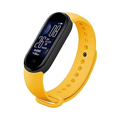 Reloj Inteligente, Smartwatch M5 Ritmo cardíaco Presión Arterial Rastreador de Ejercicios Deporte Banda Inteligente Impermeable, Android y iOS (Amarillo) ⭐