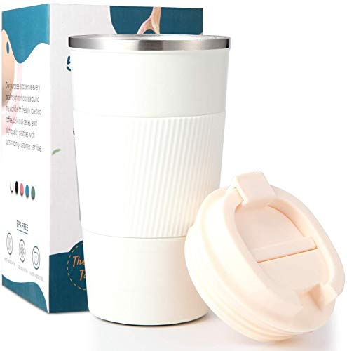 Bhaguji Coffee Tumbler 510ml Insulated-Stainless Steel Coffee Tumbler for Hot & Cold Drinks Travel Mug with Leak Proof Sipper Lock Lid (White)