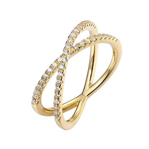 PAVOI 14K Gold Plated X Ring CZ Simulated Diamond Criss Cross Ring (5, Yellow) 14k Love Toe Ring