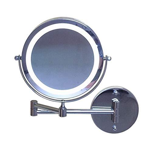 Yaseking Montado en la pared espejos de vanidad, baño montado en la pared 7 pulgadas de maquillaje LED Espejo plegable Espejo de baño con luz de doble cara espejo de aumento 3X maquillaje Espejo de ba