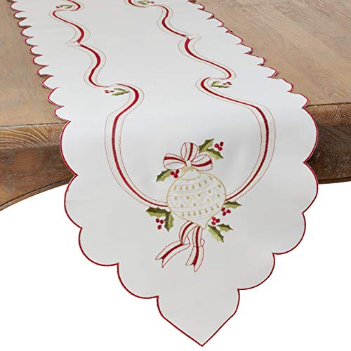 Saro Lifestyle Holiday Ornament Collection 70' Embroidered Tablecloth Ivory 8532.I69S, 100% Polyester, Ivory-Coloured, 15' x 90'
