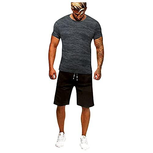 Conjunto de chándal para hombre, 2 unidades, para verano, tiempo libre, camiseta y pantalón deportivo con bolsillos, para hombre, para fútbol, deporte y tiempo libre Color gris. XXXL