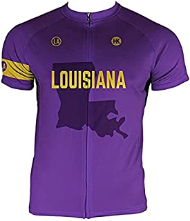 Hill Killer Louisiana Men's Cycling Jersey, Short Sleeve with 3 Rear Pockets- Moisture Wicking, Breathable, Quick Drying Biking Shirt