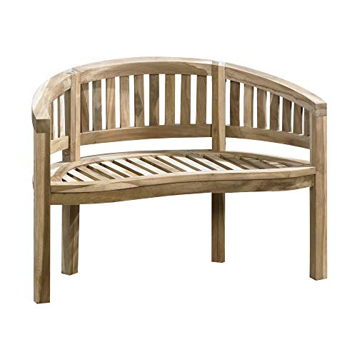 CHICREAT 2-seater banana bench in teak, garden bench, teak bench, approx. 120 cm wide