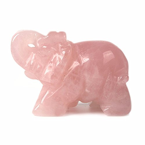 Carved Natural Rose Quartz Gemstone Elephant Healing Guardian Statue Figurine Crafts 2 inch