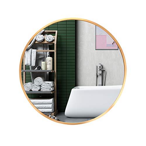 LFT HUIMEI2Y Espejo de pared redondo grande de 50,8 cm con marco de metal dorado para montar en la pared, espejo de tocador para baño,...