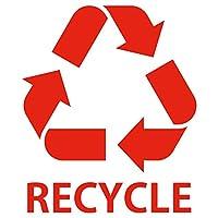 nc-smile ゴミ箱用 分別 シール ステッカー recycle リサイクル Mサイズ 80mm幅 (レッド)