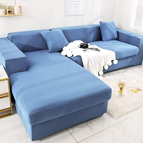 Yuany Funda de sofá seccional Be de 2 Piezas 1 2 Protector de Muebles de poliéster elástico de 3 plazas para sofá en Forma de L Sofá seccional Funda Antideslizante Resistente al Deslizamiento, be,