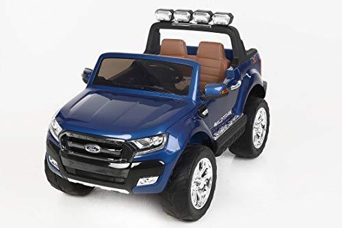 Ford Ranger Wildtrak de luxe Voiture-jouet électrique pour enfant, 2.4Ghz Bluetooth contrôle á distance, DEUX MOTEURS, deux sièges en cuir, Roues EVA douces, Peinture Bleu, licence Ford originale