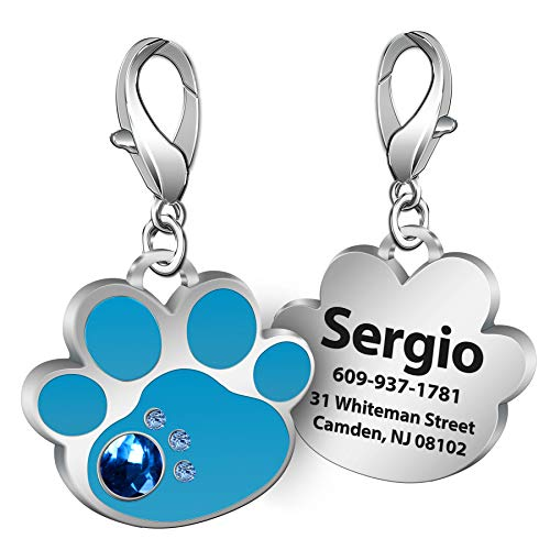 TedYoho Personalized Engraved Stainless Steel Pet ID Silent Tag,Bone and Paw Shape Dog Tags & Cat Tags with Crystals (Blue, Paw Shape)