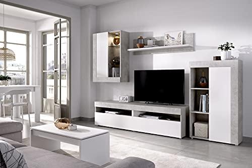 SALÓN TV con Vitrina Y Leds Cemento/Blanco