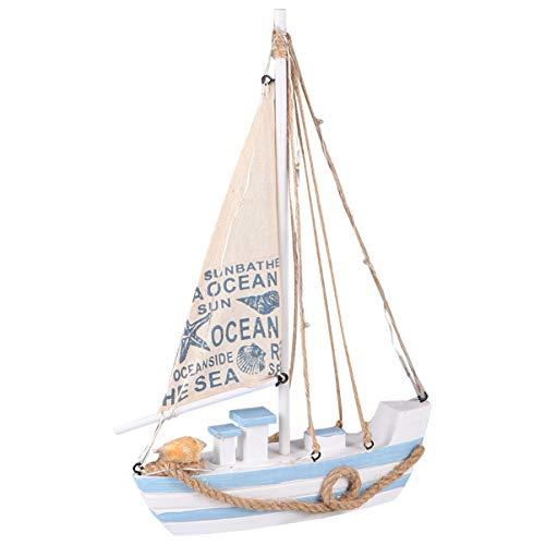Wakauto Nautische Holzschiff Segelboot Modell Ornament Segelboot Figur Mediterrane Statue Spielzeug Desktop-Dekor mit LED für DIY Handwerk Messe Garten (Blau)