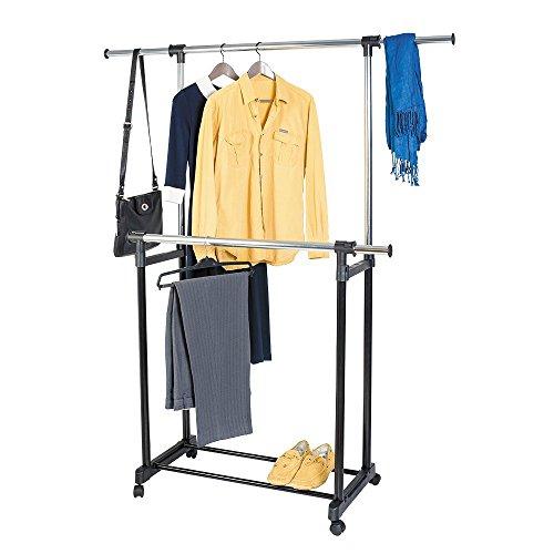 ArtMoon Toronto Portant pour Vêtements Double Télescopique 2 Barres Latérales Réglables 85-155 Hauteur Réglable 95-160cm