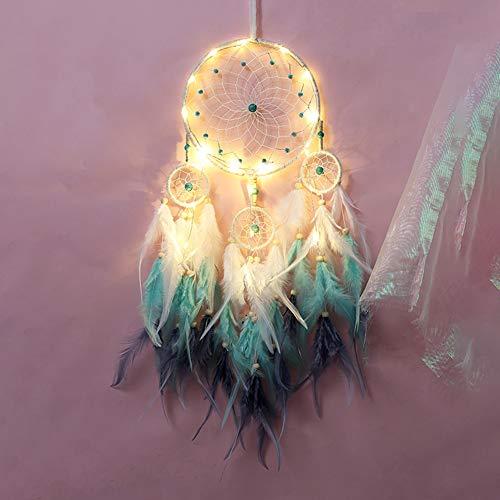 RH-ZTGY Feder-Traumfänger, Bewegliche LED-Lichterketten Batteriebetrieben Hanging Ornamente Rosa Getauchte Glitter Federn Bohemian Hochzeit Dekorationen, Boho Chic, Nursery Decor