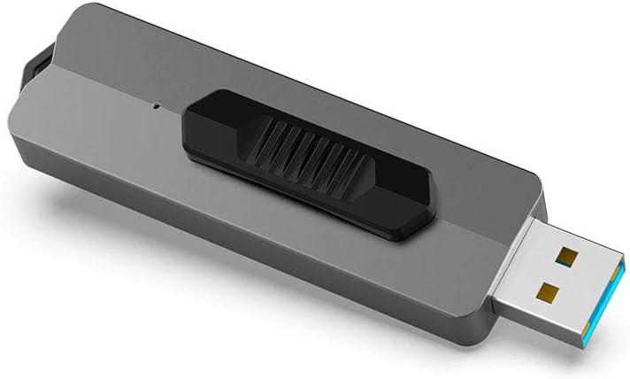 KOOTION USB Flash Drive 128 GB USB 3.1 Superspeed up to 370M/s Memory Stick Capless Retractable Thumb Drive Zip Drive Jump Drive Pendrive 128 GB, Gray