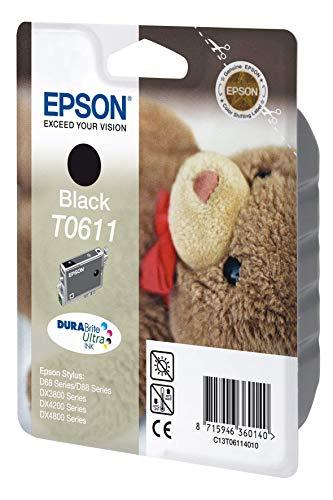 Epson C13T06114010 - Cartucho de tinta negro válido para EPSON Stylus DX4800 / DX4850 / DX4200 / DX4250 /DX3800 / DX3850 / D88 / D88+ / D68 Photo Edition, Ya disponible en Amazon Dash Replenishment