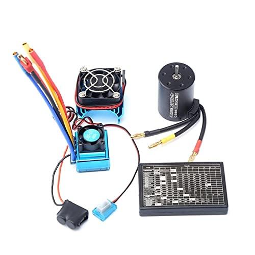 FBUWX 3650 2300KV Motor sin escobillas y ESC y radiador con Programa Combo de Auto para 1: 8/1: 10 RC Car RC Boat Part Eficiente ( Color : Blue Black )