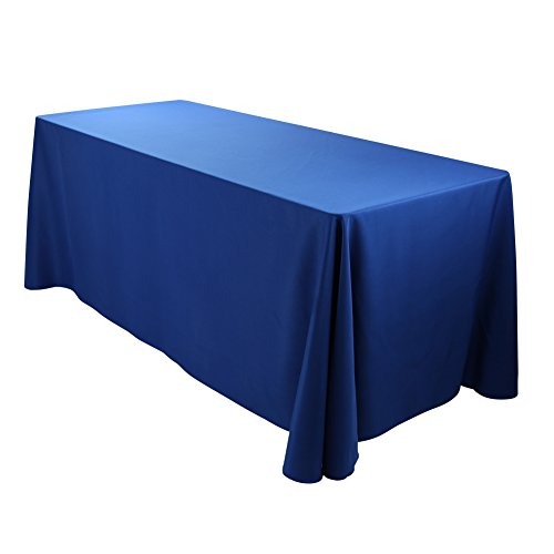 E-TEX Oblong Tablecloth - 90 x 132 Inch - Royal Blue Rectangle Table Cloth for 6 Foot Rectangular Table in Washable Polyester