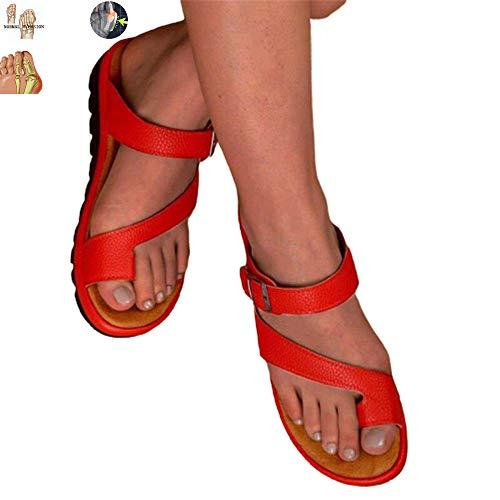 SANJIBAO Sandales Sandales de Grande Taille Boucle serties Toe Solide Couleur PU Slope en Cuir avec léger Fond épais Loisirs Convient pour la Plage,Rouge,39