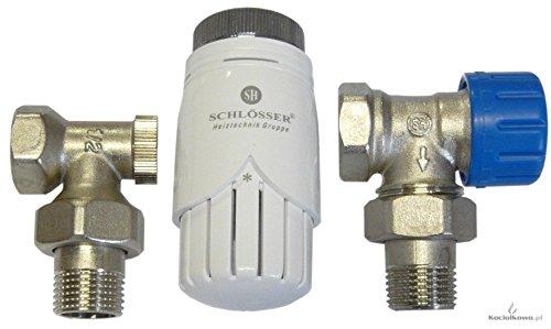 Schlösser Set -Thermostatkopf+thermostat ventil Eck+Rücklaufverschraubung 1/2