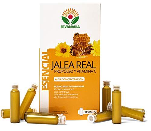ERVANARIA Pappa reale con Propoli e vitamina C, 30 Fiale, alta concentrazione, riduce stanchezza e affaticamento, rinforza il sistema immunitario, stimola la mente, migliora memoria, fornisce energia
